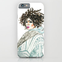 Black beauty , watercolor fashion illustration , portrait  iPhone & iPod Case by Koma Art