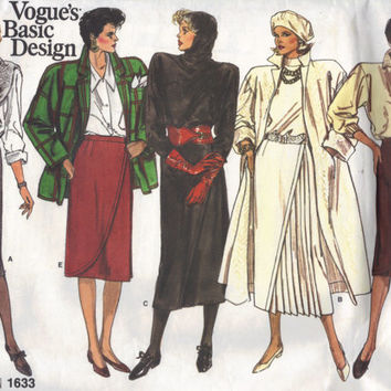 Vogue Basic Design 1980s Sewing Pattern 1633 Draped Front Pleated Asymmetrical Wrap Skirt Below Knee Uncut FF Waist 25