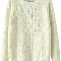 Chic Textured Solid Cable Knit Sweater - OASAP.com