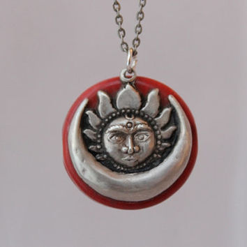Boho Moon and Sun Stone Necklace, Sterling Silver Crescent Moon Pendant, Vintage Sun and Moon Charm Jewelry, Red Precious Stone, FJSS003
