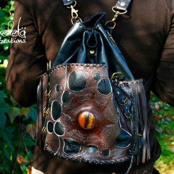 Neo tribal urban pixie couture versatile alternative steampunk festival fringed black & brown leather backpack with tiger eye gemstone