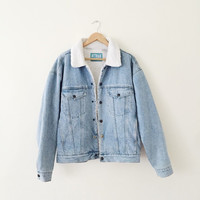 light blue denim jacket with white sherpa fur lining vintage vtg