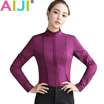 2017 autumn winter blouse women fashion chiffon elegant shirts work wear office ladies Stand Neck OL tops Long Sleeve Clothing