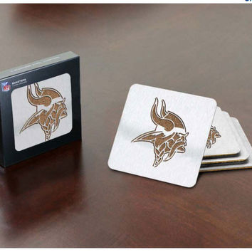 NFL Minnesota Vikings Boasters stainless steel cork 4 pack coasters