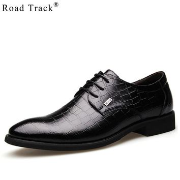 Road Track Classic PU Leather Wedding Bridegroom Shoes Lace Up Patent Shoes Pointed Toe Men Office Shoes
