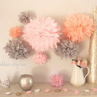 Wedding Decor 10 Tissue  Poms - Girl Nursery Decor - Girl Birthday Decor-Bridal Shower-Engagement-Pink and Gray-Peach