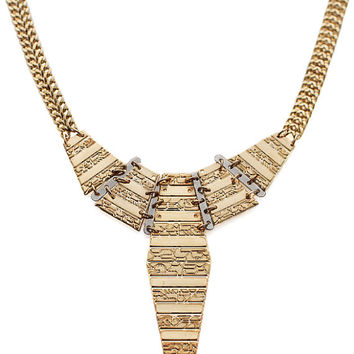 Totem pendant Necklace made of 24k gold plated - Boho chic necklace