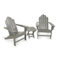 POLYWOOD 3-piece Long Island Adirondack Outdoor Chair & Side Table Set (Grey)