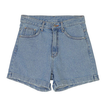 Blue Jean Shorts With Damaged Roll-Up Hems by Stylenanda