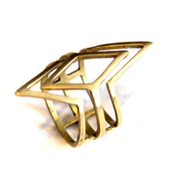 Brass Quadruple V Ring by k/ller collection for Of a Kind