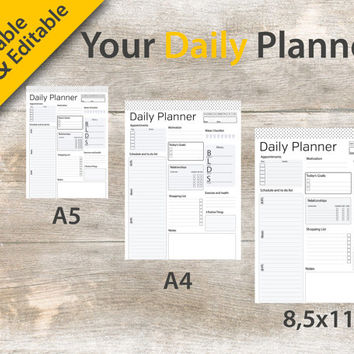 "A4 Daily Planner, Daily Planner Editable, A5 Daily Planner, Daily Planner Printable, 8.5""x11"" Daily Planner – Instant download PDF"