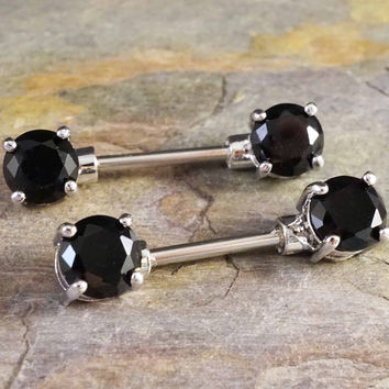 Black Crystal Nipple Bar Jewelry Barbell