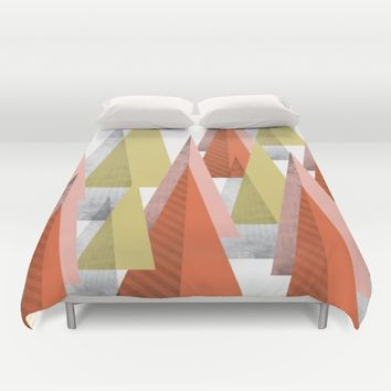 TRIANGLES SCANDINAVIAN INSPIRATION Duvet Cover by Easyposters