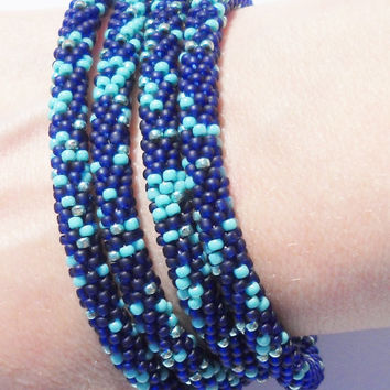Bead crochet necklace / bracelet - Seed beads crocheted rope - Invisible join - to wrap bracelet