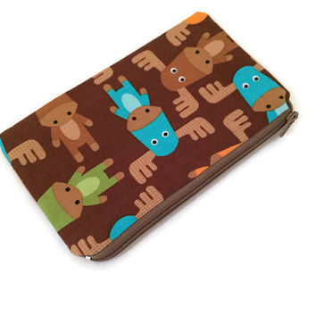 Moose Zipper Pouch -  Moose Wallet - Coin Purse - Small Cosmetic Bag - Brown Zipper Wallet - Kids Pouch - Colorful Pouch - Woodland Animals