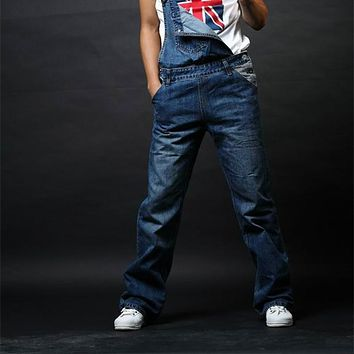 Mens Denim Jumpsuits Fashion Bib Overalls with Pockets for Male