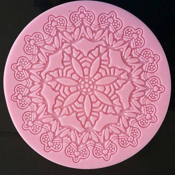 "Pink NEW 5"" Round Lace Silicone Doily Mold for Fondant, Gum Paste, Chocolate and Crafts"