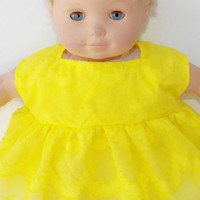 Clothes Yellow Sleeveless Dress Handmade For American Girl Bitty Baby Doll 15""