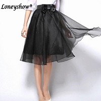 2017 Summer vintage skirts womens Elastic High Waist tulle mesh Skirt long Pleated tutu skirt women Saias midi faldas jupe
