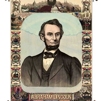 Abraham Lincoln Vintage Portrait on Canvas Hung on Copper Rod, Ready to Hang, Wall Art Décor