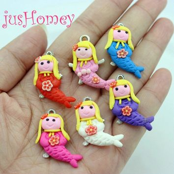 12PCS Handmade Polymer Clay Mermaid Charms Assorted Colors Mermaid Miniature Pendant for DIY Jewelry Making, Clay Craft Supply