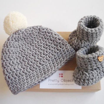 48e261c6c New baby gift set Crochet baby gift Newborn hat and shoes set Ba