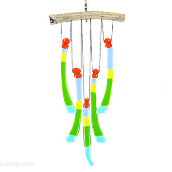 Multicolor Glass Wind Chime with Driftwood, Glass Windchime
