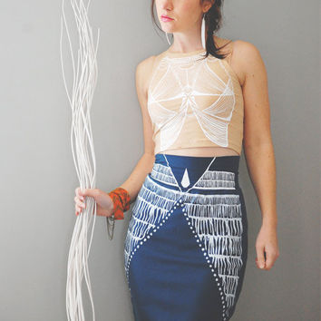 Nyala - Knee Length High Waisted Pencil Skirt - By Bark Decor - Tribal Hand Printed Tight Skirt Sea Blue