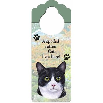 ONETOW A Spoiled Tuxedo Cat Lives Here Hanging Doorknob Sign