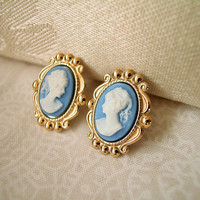 Victorian Blue and White Lady Cameo Post Earrings on Gold Plated Stamped Settings Handmade 22x18mm 2 PAIRS LEFT