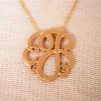 Gold Script Necklace J at Bluetique Cheap Chic