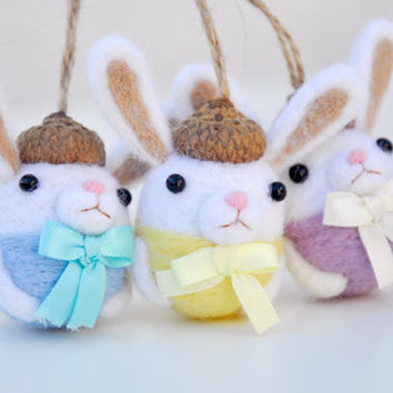 Easter Decorations Bunny Ornament Set of 3, Easter bunny ornament, Easter bunny decoration, Easter home decor, Bunny figurine, Needle felted