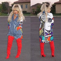 Spring Graffiti Print Spliced Ripped Pockets Long Sleeve Denim Trench Coat For Women New Clothing Streetwear