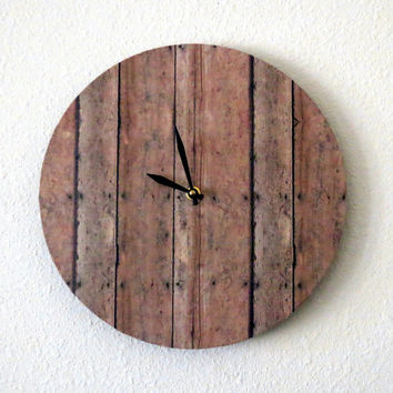 Unique Wall Clock Wood Print Decor and Housewares by Shannybeebo