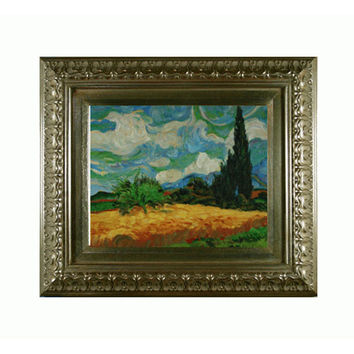 OverstockArt VG881-FR-7870S8X10 Wheat Field with Cypresses by Vincent Van Gogh: 10 x 8 Oil Painting Reproduction with Elegant Wood Frame