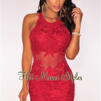 Red Embroidered Crisscross Open Back Padded Dress