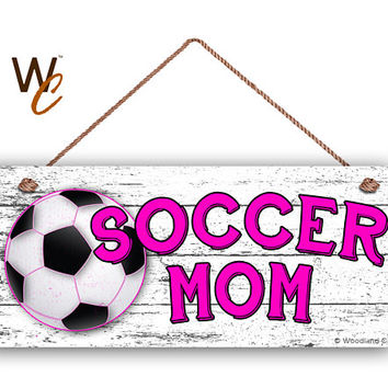"""SOCCER MOM Sign, Pink Soccer Sign For Mom, Gift For Her, Distressed Style, 6"""" x 14"""" Sign, Sports Sign, Mom of Soccer Player, Made To Order"""