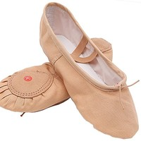 Women's Canvas Ballet Slippers Practice Yoga Flat Shoes Split Belly Shoes