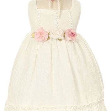 Ivory Crushed Cotton Day Slip Occasion Dress with Matching Headband (Baby Girls)