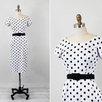 vintage 1950s 50s dress // Black and White by RococoVintage