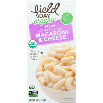 Field Day Macaroni And Cheese - Organic - Deluxe - White Cheddar - 6 Oz - Case Of 12
