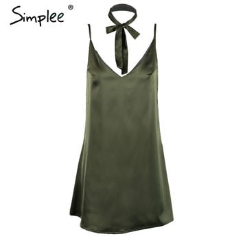 Simplee sexy v neck satin slip summer dress S evening party short dress women Fashion halter club dresses