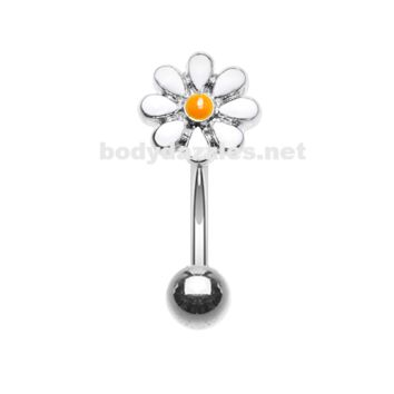 Dainty Daisy Enamel Curved Barbell Eyebrow Ring Rook Daith Ring 16ga Body Jewelry