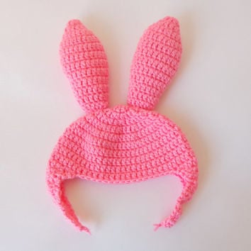 Louise Belcher Pink Bunny Ear Flap Hat Inspired from Bob's Burgers For Girl Newborn to Adult Photo Prop