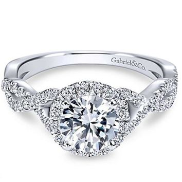"Gabriel ""Marissa"" Twist Diamond Halo Engagement Ring"