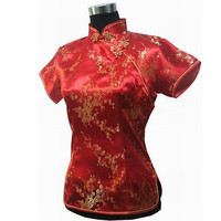 New Arrival Red Ladies' Satin Blouse Mujeres Camisa Vintage Chinese Style Womens Short-sleeve Shirt Tops Size S M L XL XXL A0029