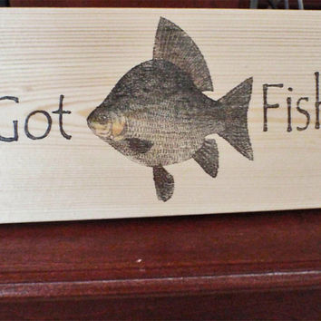 Fishing sign, fish wood sign, fish sign, wood fish sign, fishing decor, fish art, funny fishing sign, man cave,  FREE SHIPPING