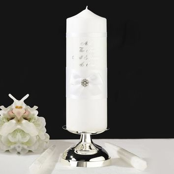 White Lace Pillar & 2 Tapers Candle Set - Perfect Wedding Gift