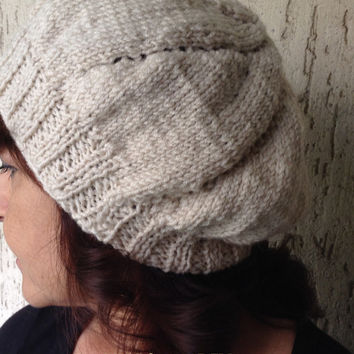 Women's Winter Hat,Knitted Hat for Her,Slouchy Beanie,Slouchy Hat,Offwhite Wool Acrylic Yarn,Accessory,Christmas Gift,Handmade