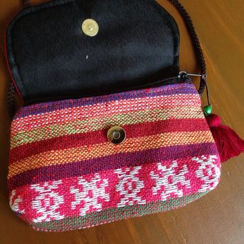 Aztec Zipped Bags Coin Purse Cell Phone Wallet Boho Bohemian Cross Body Chic Ikat Abstract Tribal Pouch Wallet Clutch Unique Handmade pink